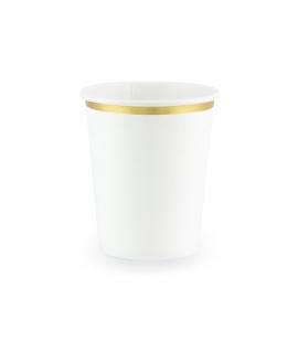 Kubeczki białe ze złotym paskiem