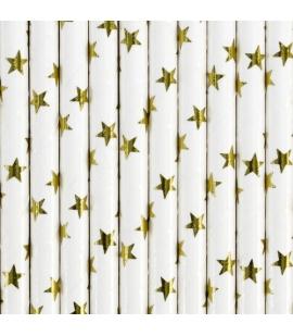 Słomki papierowe białe w złote gwiazdki