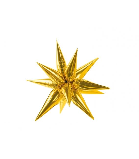 Balon foliowy Gwiazda 3D, 70cm, złoty
