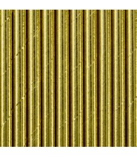 Słomki papierowe, złoty, 19.5cm