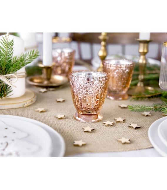 Zestaw świeczników różowe złoto 4szt.