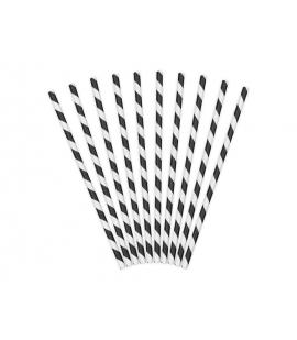 Słomki papierowe biało-czarne 10szt.
