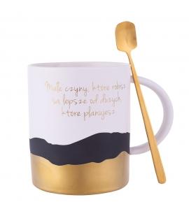 Kubek upominkowy z porcelany ze złotą łyżeczką
