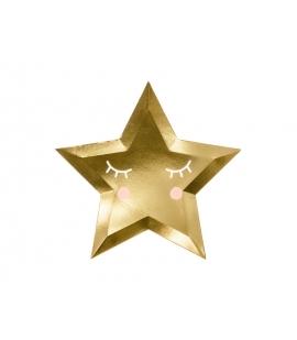 Talerzyki papierowe Złota Gwiazdka Little Star